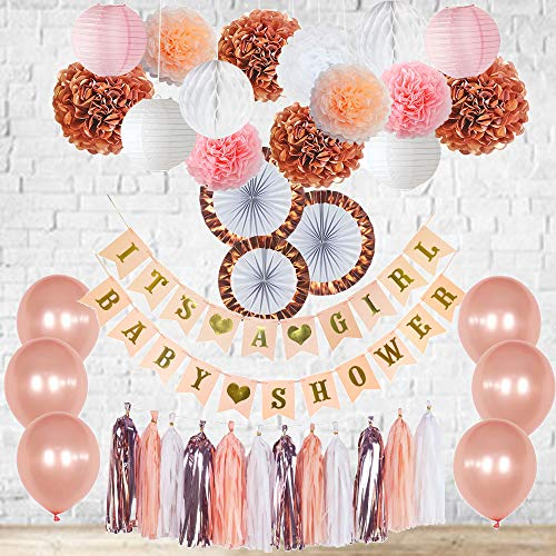 Rose Gold Baby Shower Decorations Its a Girl Banner Balloons Pink, White, Blush and Rose Gold Tassel Garland Bunting Tissue Paper Fans Lanterns Pom Poms Honeycomb Balls New Color Party Nursery Room]()