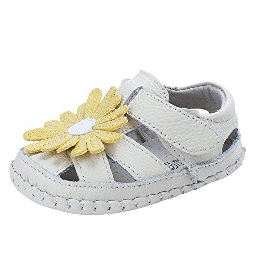 (Baby Girls Genuine Leather Anti-Slip Summer Prewalker Toddler Sandals First Walkers Outdoor Shoes (13.5cm(18-24months), Yellow Flowers) )