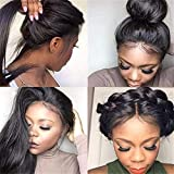 360 Lace Frontal Stright Human Hair Wigs, Peruvian Pre Plucked Lace Wig Glueless Human Hair Wigs for Black Women With Baby Hair(130% Density,14 inch)