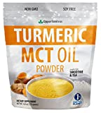 MCT Oil Powder + Turmeric Perfect for Keto, Ketogenic Diet - Golden Milk Drink Mix - Medium Chain Triglyceride Supplement for Coffee, Tea, Smoothies, Recipes - Ideal for Travel & Workouts - 6 oz
