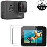 Josi Minea x 2 Pcs [ GoPro HERO5 Black ] 3D Hard Silicone TPU Screen Protector for LCD Display + Camera Lens with Edge to Edge Anti-Scratch Ballistic HD Clear Cover Shield for GoPro Hero 5 [2 Pack]