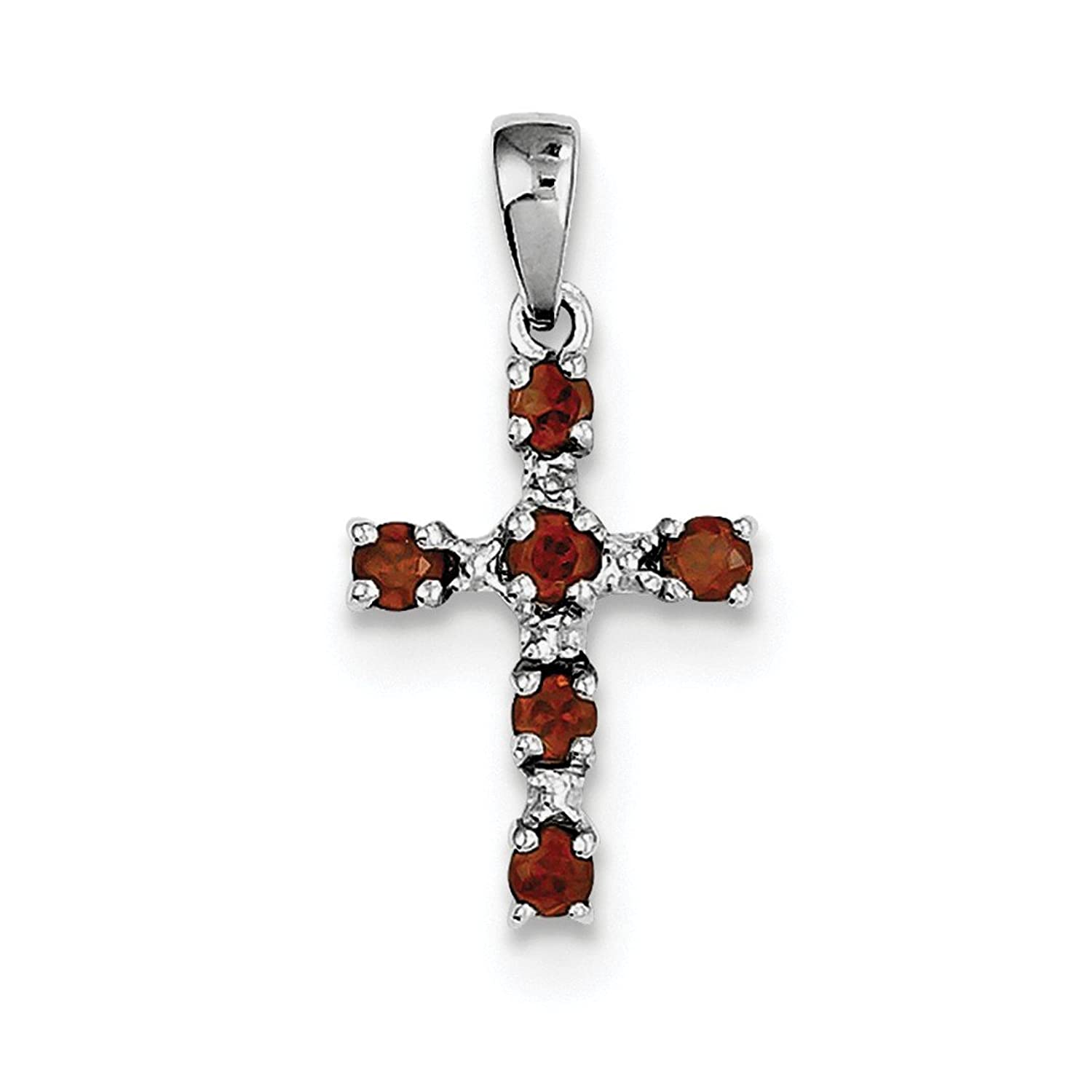 ICE CARATS 925 Sterling Silver Red Garnet Diamond Cross Religious Pendant Charm Necklace Gemstone Fine Jewelry Ideal Mothers Day Gifts For Mom Women Gift Set From Heart