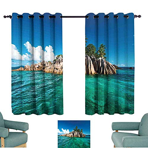 HCCJLCKS Fashion Curtain Island St. Pierre Island at Seychelles Natural Granite Relaxation Mediterranean Tie Up Window Drapes Living Room W63 xL45 Jade Green Blue Tan