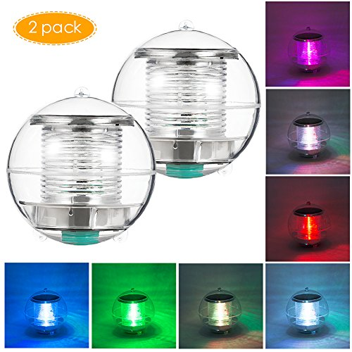 Coquimbo Solar Floating Light Pond Light Pool Light with Color Changing Waterproof ABS Plastic LED Solar Light Globe Night Light Lamp for Garden Swimming Pool Party Home Decor (2 Pack)