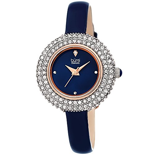 Burgi Women's BUR195 Swarovski Crystal & Diamond Accented Watch - Comfortable Leather Strap - Comes in A Gift Box (Rose Gold & -