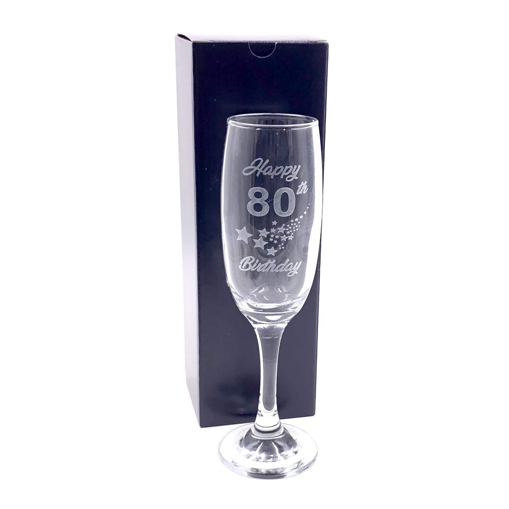 ukgiftstoreonline 80th Birthday Stars Champagne Flute Glass Gift Boxed