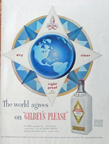 Gilbey's Gin, 50's Print ad. full page Color Illustration. Scarce old ad. (the world agrees) Original 1952 Life Magazine ()