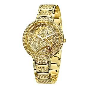 CWYPB Dama de Diamante Reloj Pulsera, la Personalidad Femenina de Acero Inoxidable Reloj de Cuarzo Animal Print Bottom Mujer Reloj de Pulsera para cumpleaños de Navidad Regalo de San Valentín día,B