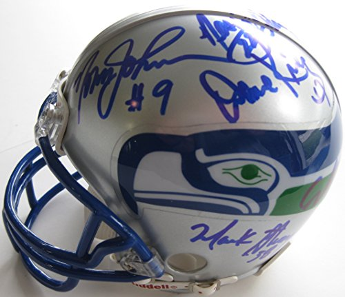 Hawk Signed Green (Seattle Seahawks, Legends, Signed, Autographed, Mini Helmet, a Coa and the the Proof Photos of Seahawks Legends Signing Will Be Included)