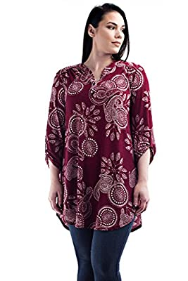 Betsy Red Couture Women's Plus Size Dress Shirt Tunic