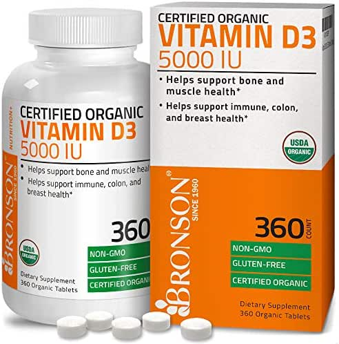 High Potency Vitamin D3 5000 IU Certified Organic Vitamin D Supplement, Non-GMO Gluten Free USDA Certified Formula, 360 Tablets