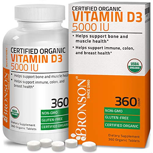 High Potency Vitamin D3 5,000 IU for Healthy Muscle Function, Bone Health and Immune Support, USDA Certified Organic Vitamin D Supplement, Non-GMO Gluten Free Formula, 360 Tablets