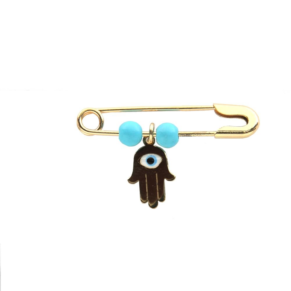 18K Yellow Gold Hamsa enamel and Turquoise paste beads Safety Pin