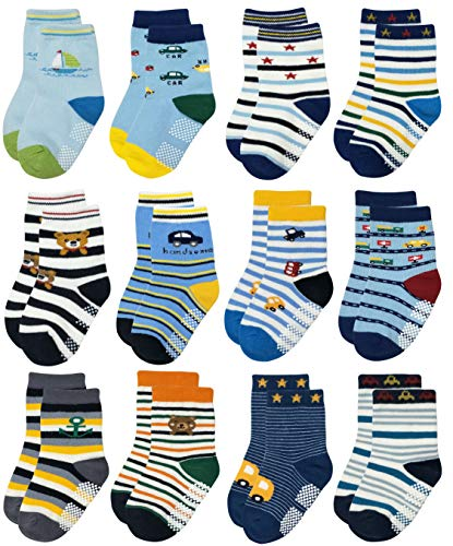 RATIVE RB-71317 Non Skid Anti Slip Slipper Cotton Striped Crew Dress Socks with Grips for Baby Toddler Boys (9-18 Months, 12 designs/RB-912916) (Baby Dress Socks)