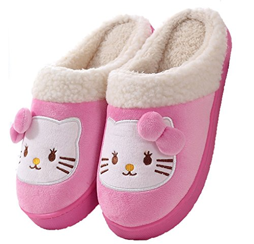 Maybest Women's Premium Cartoon Skid-proof Fleece Plush House Slippers Pink Cat 7 B (M) US