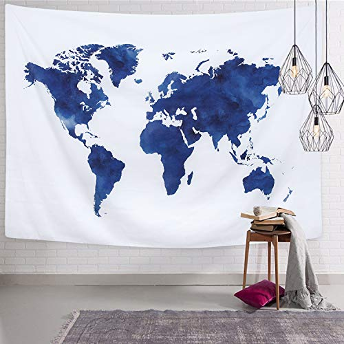 Shop Tapestry Wall Hanging - Martine Mall World Map Tapestry Wall Hanging, Blue Painting Tapestries, Retro Hippie Tapestry Wall Art for Home Decor