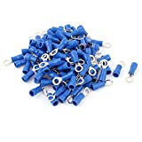 100 Pcs 1.25-4S Wire Connector Ring Crimp Terminal Blue 22-16AWG