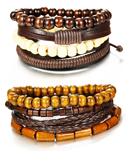 FIBO STEEL 8Pcs Leather Bracelets for Men Women Wooden Bead Bracelet Cuff Elastic,Z