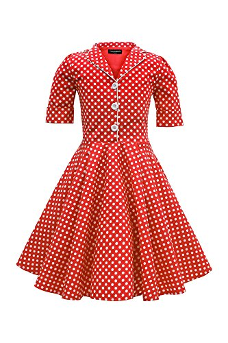 BlackButterfly Kids 'Sabrina' Vintage Polka Dot 50's Girls Dress (Red, 5-6 YRS)