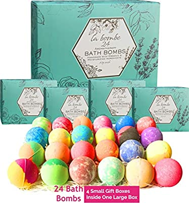 La Bombe Natural Bath Bombs Gift Set. 24 Pc Large Bath Balls wrapped in 4 Gift Boxes Perfect Relaxation and Moisturizing Gift For Woman
