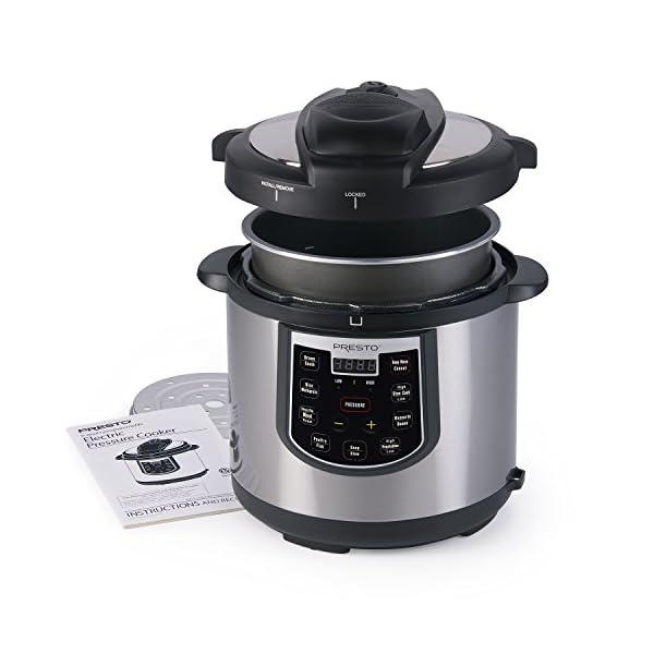 Presto 02141 6-Quart Electric Pressure Cooker, Black, Silver 2