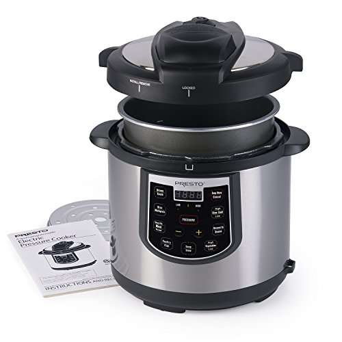 Presto 6 quart Electric Pressure Cooker - Stainless and Black, Silver
