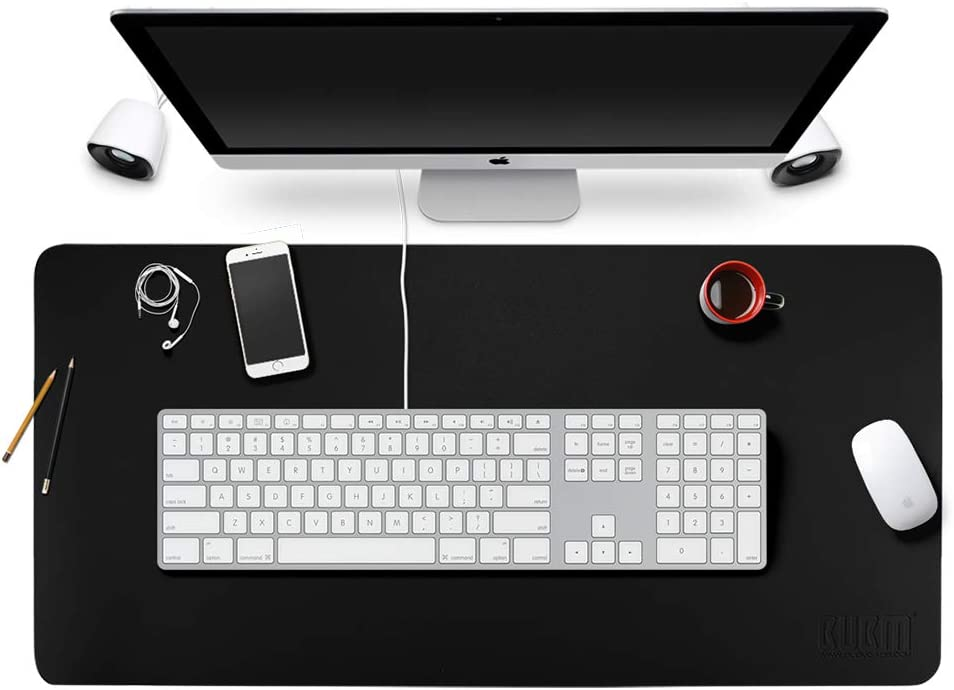 """BUBM Office Writing Mat Table Desk Pad Mouse Pad Blotter Protector 35.4""""x 17"""" PU Leather for Office/Home, Easy-to-Clean Surface (Black)"""