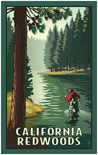 California Redwoods River Fly Fishing Travel Art Print Poster by Paul Leighton (24