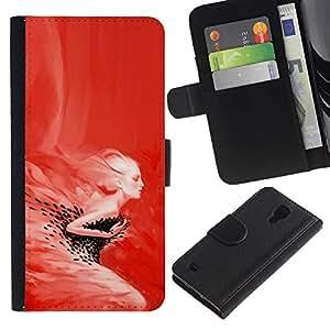 YiPhone /// Tirón de la caja Cartera de cuero con ranuras para tarjetas - Red Mujer - Pop Art - Samsung Galaxy S4 IV I9500