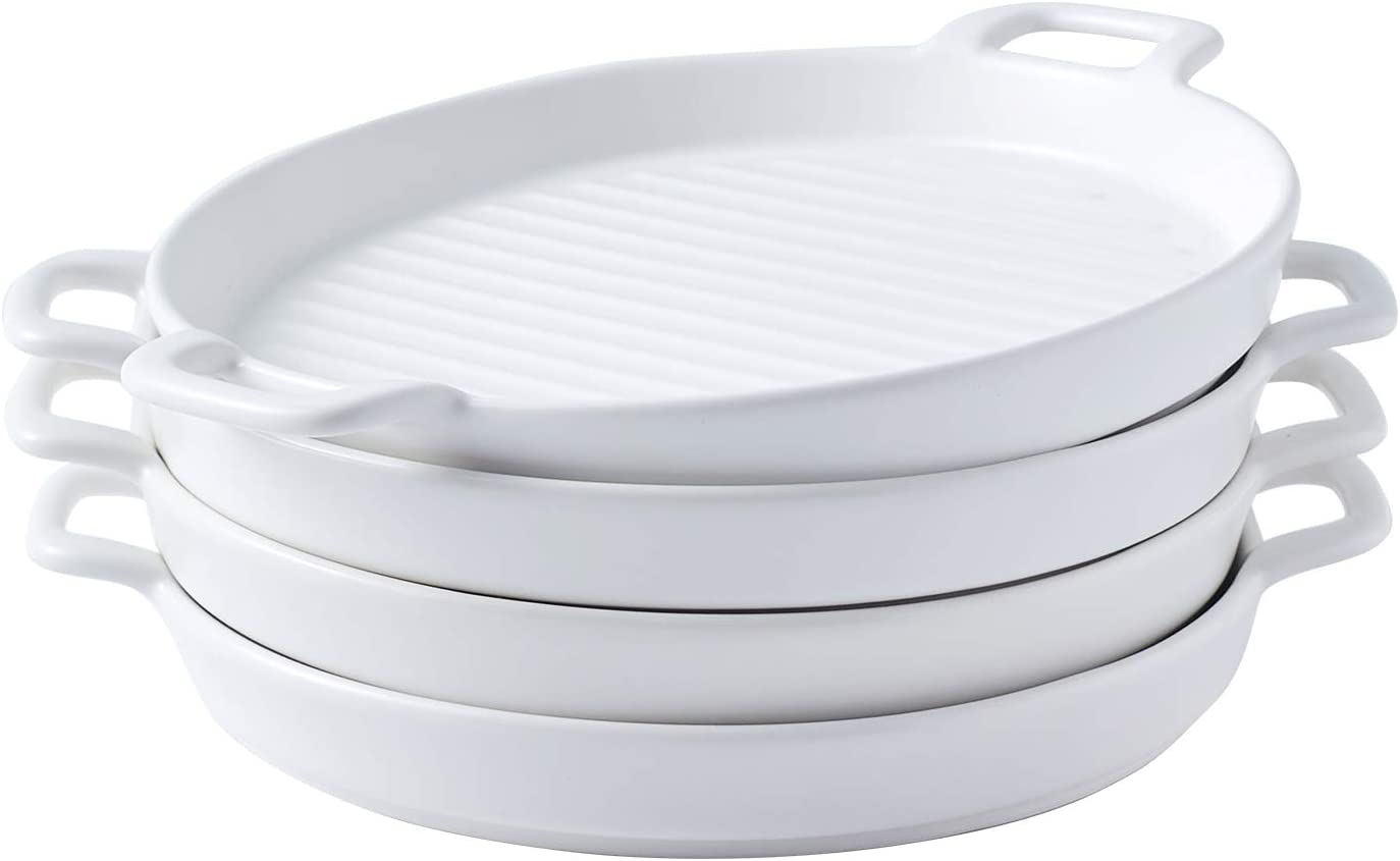 Bruntmor 8 Inch Ceramic Set Of 4 Oven to Table Bakeware Matte Round Baking Dish Grill Dinner Plates, Food Serving Dinner Trays, White