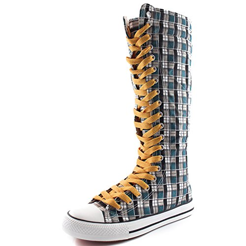 Dailyshoes Toile Femme Mi-mollet Bottes Hautes Casual Sneaker Punk Plat, Moutarde Jaune Bleu Wht Carreaux, Dentelle Jaune Moutarde