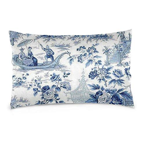 Private Bath Customiz Chinese Style Powder Blue Chinoiserie Toile Home Decor Throw Pillowcase Pillow Protector Best Pillow Cover 14 x 20 inch (Powder Blue Pillowcases)