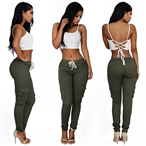 (Sun Lorence Women Slim Fit Stretchy Casual Multiple Pockets Cargo Long Pants Green XL)