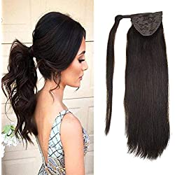 "LaaVoo 12"" Hairpiece Ponytail Clip on Extension Long Smooth Human Hair For Short Hair Colorful Darkest Brown Straight Wrap Ponytail Extension For Women 80g (#2)"