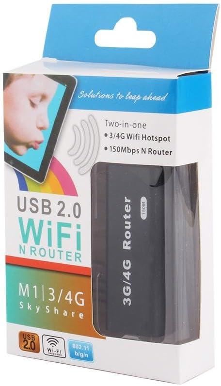 Diyeeni Router inalámbrico, Router de Red Mini portátil 3G/4G Wireless-N USB WiFi Hotspot Router Ap 150Mbps LAN inalámbrica RJ45