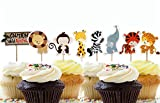 Yunko 24 Pcs Cute Decorative Cupcake Muffin Toppers Wild Animals Zoo Zebra Lion Tiger Elephant Giraffe Baby Shower Birthday Party Favors