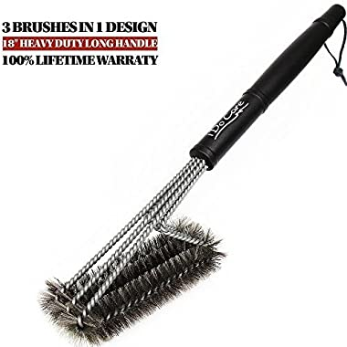 iDoCare BBQ Grill Brush - 18  - 3 Stainless Steel Brushes in 1 - Best Barbecue Grill Cleaning Brush Provides 360° Cleaning - Perfect For Weber, Char-Broil, Gas, Electric, Porcelain & Infrared Grills