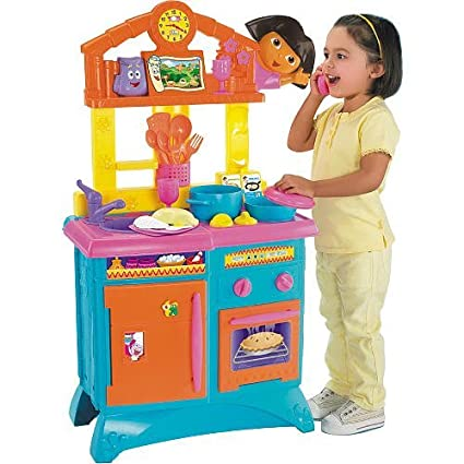 amazon com fisher price dora the explorer folding kitchen toys games rh amazon com dora the explorer kitchen set target dora the explorer kitchen walmart