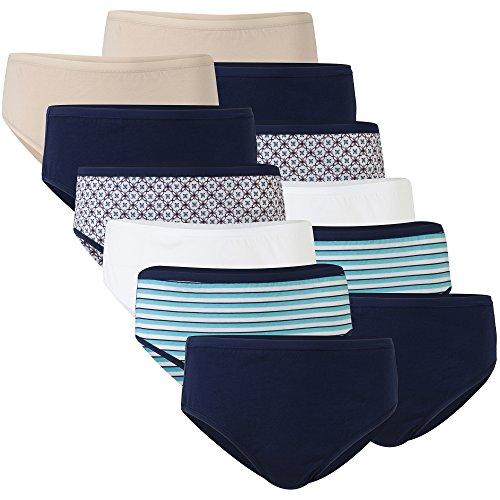 Gildan Women's Cotton Hi Cut Panties, 12 Pairs, Nude Floral/White/Stripe/Navy, 3X