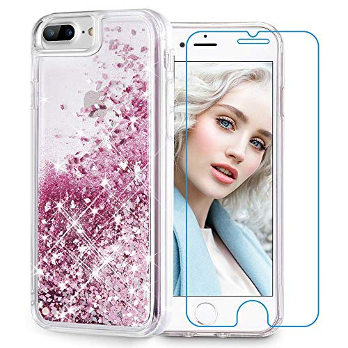 - Maxdara iPhone 8 Plus Case, iPhone 7 Plus Glitter Liquid Case with Screen Protector Floating Bling Sparkle Luxury Pretty Girls Women Case for iPhone 6 Plus 6s Plus 7 Plus 8 Plus (Rosegold)