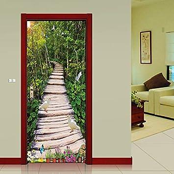 Jardín solo Pegatinas de puerta de puente de madera Corredor Pantallas Pegatinas de porche moderno Simulación Decorativo Adhesivo de pared: Amazon.es: Bricolaje y herramientas