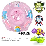 3-36 Months Bath Sets , Safety Kids Inflatable baby Seat ,Infant Pool Float Swimming Toy With Safe Handle,Puls 2 Pieces Bathtub Toys Turtle and Crocodile Wind up Water Toy (Pink)