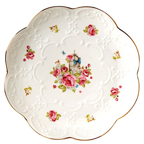 (Pack of 2 Vintage Rose Fine China Dinner Plate/Fruit Plate/Dessert Plate FDPL04 (6 Inches))