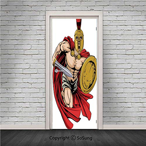 Toga Party Door Wall Mural Wallpaper Stickers,Spartan Warrior with Sword and Shield Ancient Legendary Greek World Graphic,Vinyl Removable 3D Decals 30.4x78.7/2 Pieces set,for Home Decor Peach Red - Spartan Halo Gold