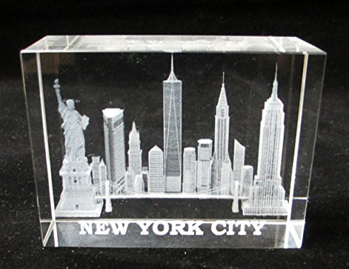 - New York Souvenir NYC Skyline 3D Clear Crystal Laser Etched Glass Paperweight with Statue of Liberty Empire State Building Freedom Tower Large Size