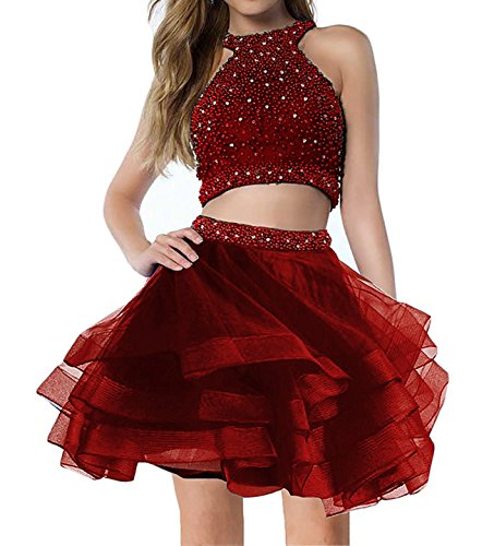 Bonnie_Shop Bonnie Sparkly Beaded Homecoming Dresses 2018 Short Two Piece For Juniors Prom Ball Gowns BS005