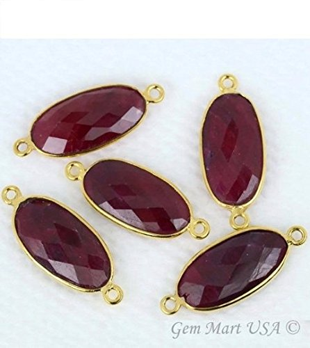 Ruby Bezel Connector 10x20mm Oval 24k Gold Plated Double Bail By GemMartUSA Double Bezel Earrings
