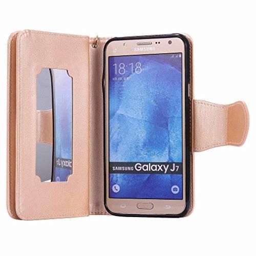 Yiizy Samsung Galaxy J7 J700 Funda, Chica Repujado Diseño Solapa Flip Billetera Carcasa Tapa Estuches Premium PU Cuero Cover Cáscara Bumper Protector Slim Piel Shell Case Stand Ranura para Tarjetas Es