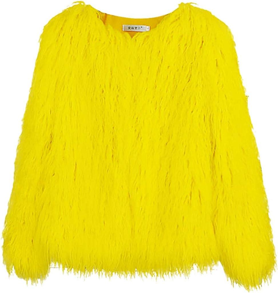 Yellow.C, L AOJIAN Women Cardigan Winter Patchwork Jacket Coat Warm Plush Overcoat
