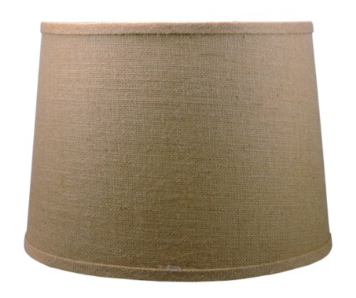 Urbanest French Drum Burlap Lampshade, 14-inch by 16-inch by 11-inch, -